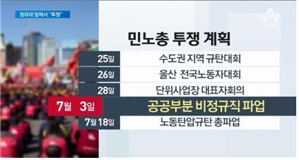 '민노총'이라고 표시한 채널A <뉴스A>