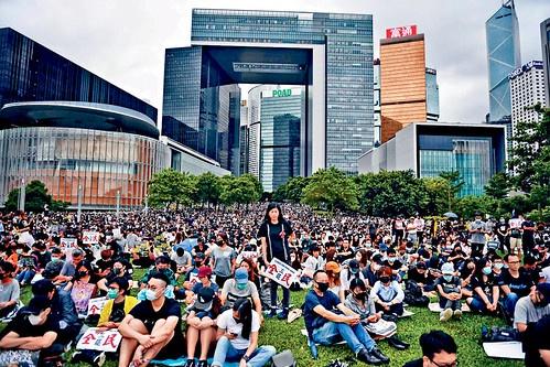 8월 5일 파업 집회에 참여한 홍콩 노동자들