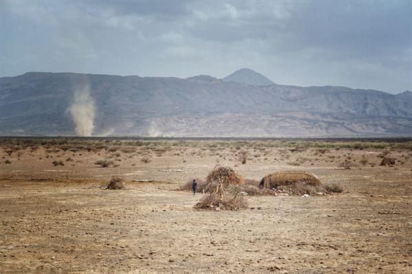 에티오피아 북동부 다나킬 저지대의 움막집