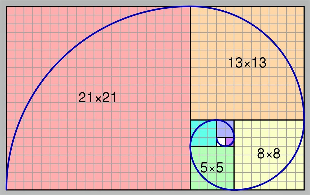 태풍 혹은 은하는 나선형을 이루는데 이들의 길이 비율은 신기하게도 황금비율에 해당한다. 위 그래프에서 직사각형 모양의 도형은 가로 세로 비율이 황금비이다.