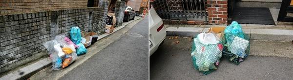 다세대 주택 앞에는 쓰레기봉지와 재활용 쓰레기가 뒤섞여 있었다. 오후 늦게 청소차가 와서 수거해 간다고 했다.
