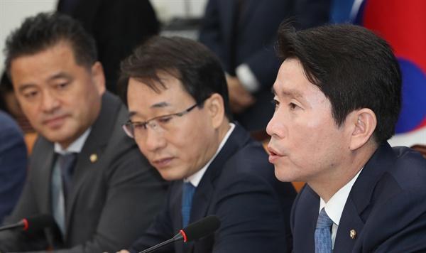 더불어민주당 이인영 원내대표가 10일 오전 국회에서 열린 정책조정회의에서 발언하고 있다
