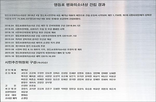 시민추진위원회 구성 평화의 소녀상 배경판 뒤에 새긴 건립경과와 시민추진위원회 구성