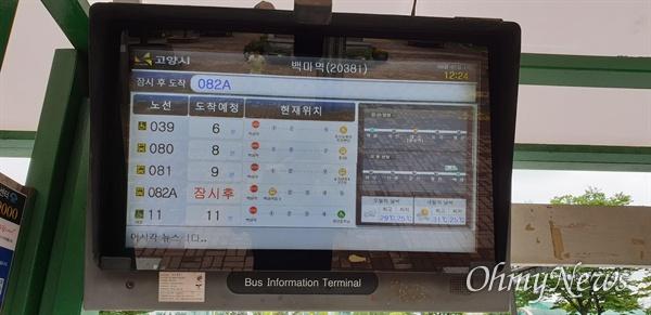 고양시는 역 주변 버스정보안내기에서 버스정보와 함께 인근 역의 철도 도착정보를 번갈아 제공하고 있다.