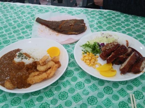 2019년 제주광어대축제 행사장 광어를 이용한 각종 음식들