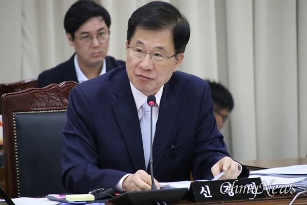 14일 오전 경북교육청에서 열린 국회 교육위 국정감사에서 신경민 더불어민주당 의원이 발언을 하고 있다.