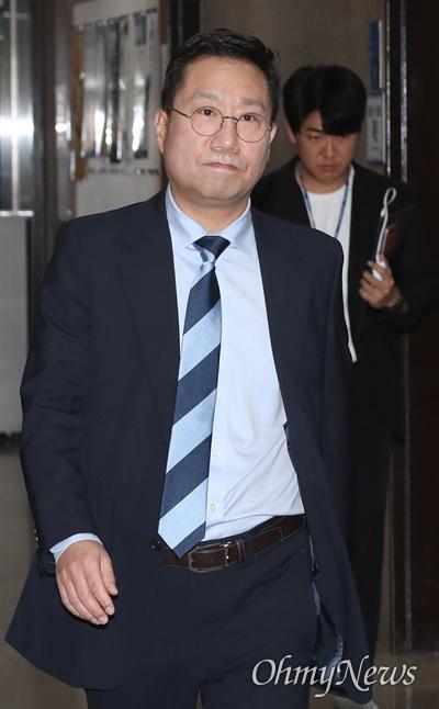 양정철 민주연구원장이 14일 오후 국회 당대표실에서 열린 고위전략회의에 참석하고 있다.