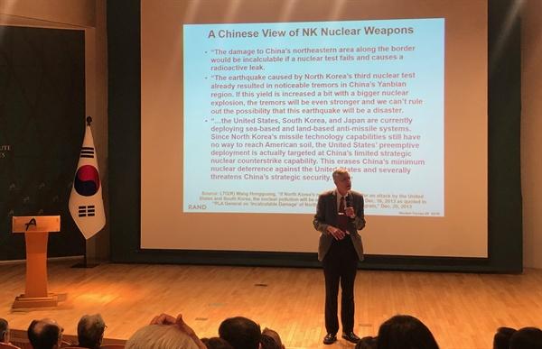 브루스 베넷 선임연구위원 베넷 선임연구위원은 15일 아산정책연구원에서 '핵전력의 이해'를 주제로 공개강연을 했다.
