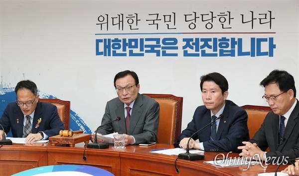 더불어민주당 이해찬 대표가 16일 오전 국회에서 열린 최고위원회의에서 발언하고 있다.