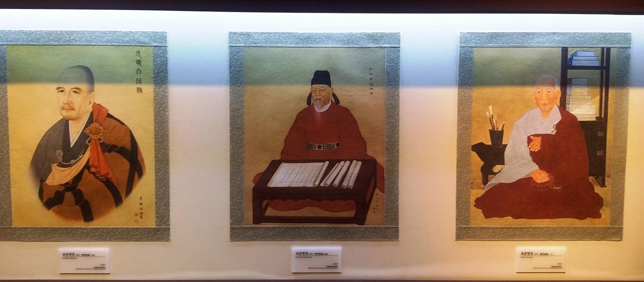 원효, 설총, 일연의 초상화.