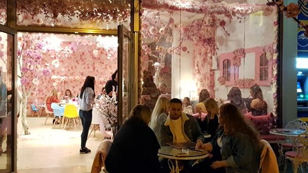 핑크빛 가게 늦은 저녁시간이 되어도 브라티슬라바의 젊음은 식을 줄을 모른다.