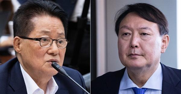 국회 법제사법위원회의 대검찰청 국정감사에서 공방을 주고 받은 박지원 의원과 윤석열 검찰총장