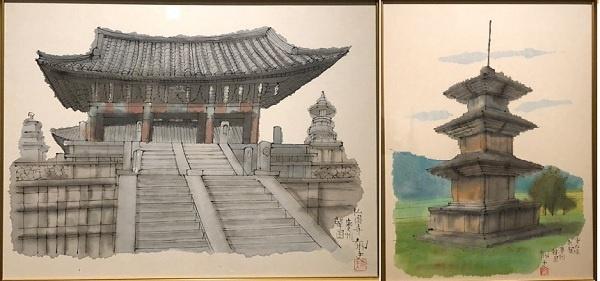 히라야마가 찾아가서 그린 경주 불국사와 감은사지 석탑입니다.