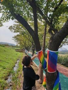 화랑유원지 산책로에 시민들이 보내온 뜨개작품을 설치하고 있는 모습