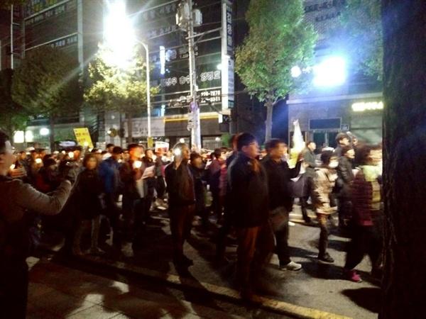 행진하는 광주시민들  검찰청 앞까지 행진하는 광주시민들