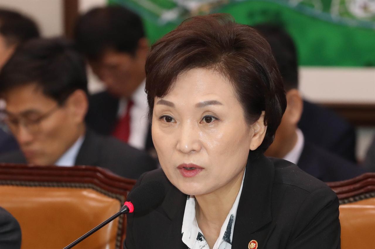 김현미 국토교통부 장관이 21일 국회에서 열린 국토교통위원회 국정감사에서 의원 질의에 답변하고 있다.