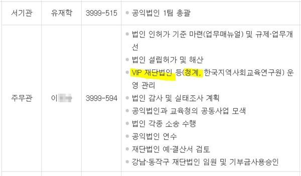 서울시교육청 공식 사이트에 올라와 있던 담당 업무표. 21일 현재는 'VIP'란 글귀는 지워져 있다.