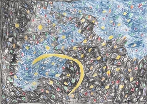 큰아이가 열 살이던 무렵 그려 준 그림. 큰아이는 이 그림에 '반딧불이'란 이름을 붙였다. 아이가 스스로 보고 느낀 대로 그릴 수 있도록 하면 참으로 놀랍다고 느낀다.