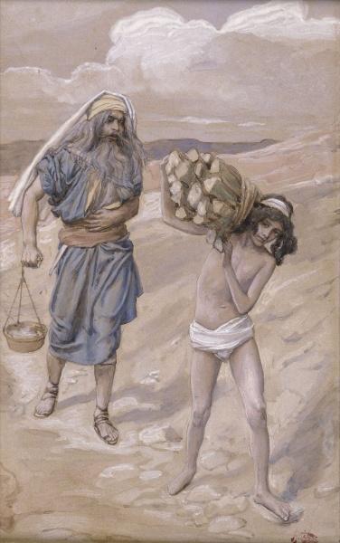 번제나무를 등에 이고 모리아산을 오르는 이삭과 그의 아비 아브라함 (Isaac bears the wood for his sacrifice, James Tissot/Public Domain)