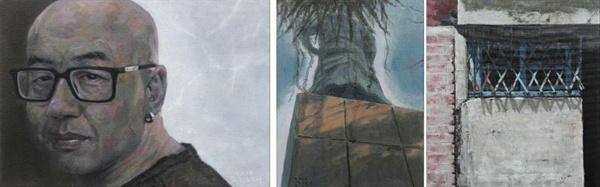 <좌> 친우 - 강웅.  24.x33.5cm.   Oil on canvas  <중>장군의 그늘.  33.5x5.4cm.   Oil on canvas  <우> 세월 52.5x45cm.   Oil on canvas