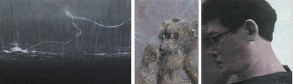 <좌> 파도 - 혼불. 27x40.5cm.   Oil on canvas  <중> 표효.  33.5x24cm.   Oil on canvas  <우> 친우 - 기정.  25x25cm.   Oil on canvas