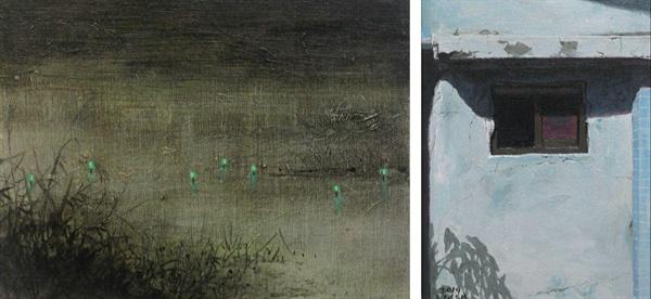 <좌> 정적.  20x25cm.   Oil on canvas  <우> 하늘색 벽.  33,5x24.   Oil on canvas
