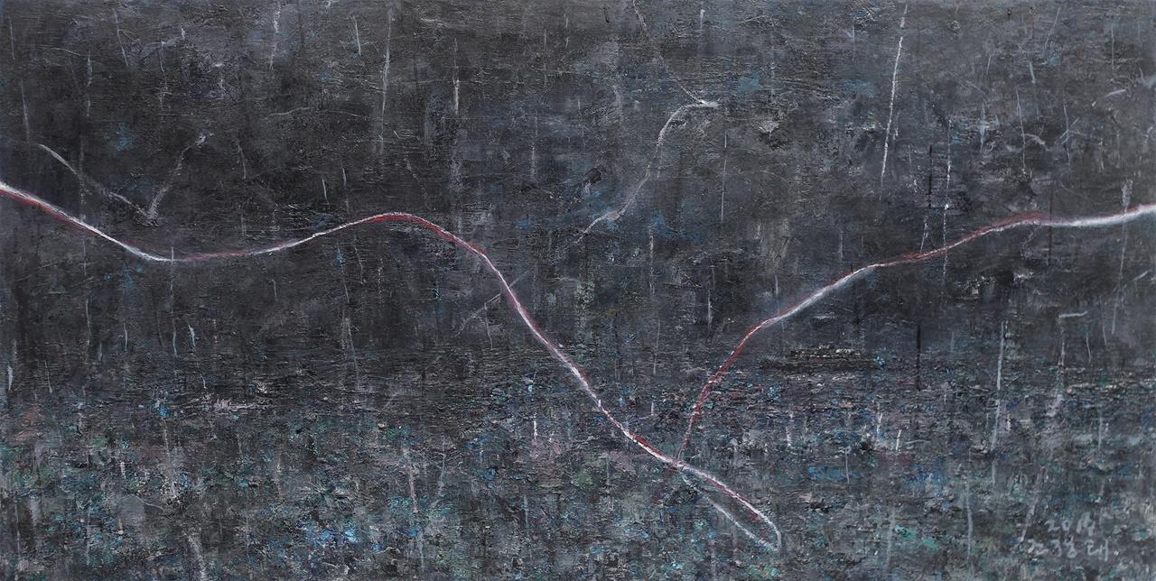 검은 바다 - 귀국선.  32x64cm. Oil on canvas.