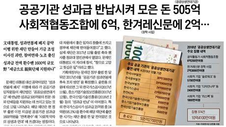 △ 공공상생연대기금이 친문·좌파단체를 지원한다고 주장하는 조선일보 기사(10/14)