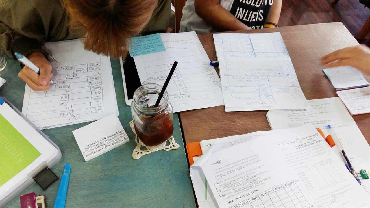 컴퓨터 작업이 익숙치 않은 아이들이 먼저 종이에 칸을 그려서 손으로 설문지 샘플을 만들고 있다.