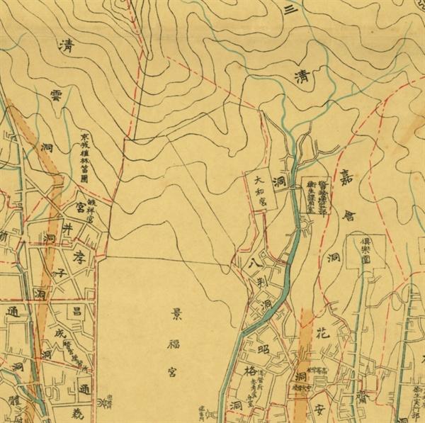 조선총독부 임시토지조사국과 경성부청에서 교열하고 경성일보사(京城日報社)에서 1914년에 편찬한 '경성부명세신지도(京城府明細新地圖)'에 대화궁(大和宮)으로 표기된 곳이 현재의 국무총리공관입니다. 복개되기 전의 삼청동천이 짙푸르게 표기되었습니다. 조선총독부 임시토지조사국은 조선을 강점한 일본이 수탈의 기본 자료를 확보하기 위하여 1910년에 설치한 조선총독부 산하기관으로 한반도의 측지와 지도제작 사업에 주력했던 기관이고 경성일보사는 1906년에 창간된 조선총독부 기관지입니다. 서울역사박물관 유물번호 '서울역사011440'
