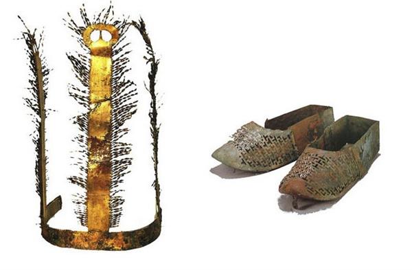 탑리리 고분에서 출토된 금동관과 금동신발