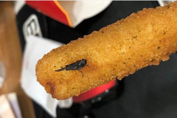 맥도날드 내부 고발자가 정치하는엄마들 측에 제보한 사진이다. 정치하는엄마들 측에 따르면, 위 사진은 2019년 8월에 촬영된 것으로 구매한 치즈스틱에 벌레가 함께 튀겨진 모습이다.