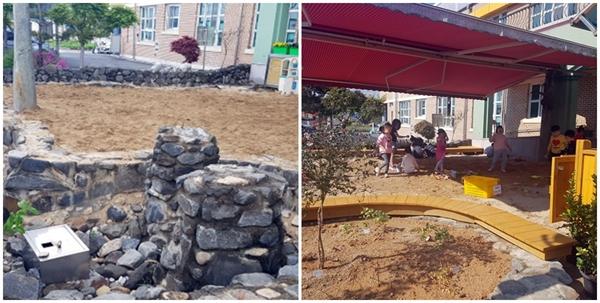 놀뫼유치원은 올해 모래 놀이터를 새단장했다. 다칠 위험이 있는 구조물을 걷어내 놀이터가 넓어졌다. 공사 전(완쪽)과 공사 후(오른쪽)