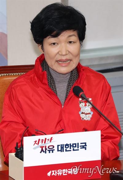이진숙 전 대전MBC 사장이 31일 국회에서 열린 '제1차 자유한국당 영입인재 환영식'에서 인사말 하고 있다.