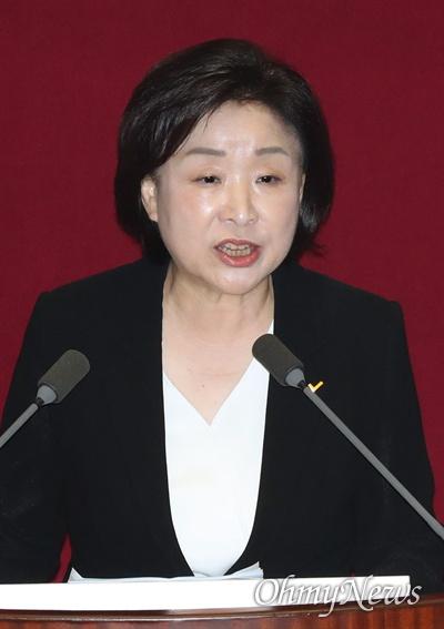 심상정 정의당 대표가 31일 국회 본회의장에서 비교섭단체 대표연설을 하고 있다.