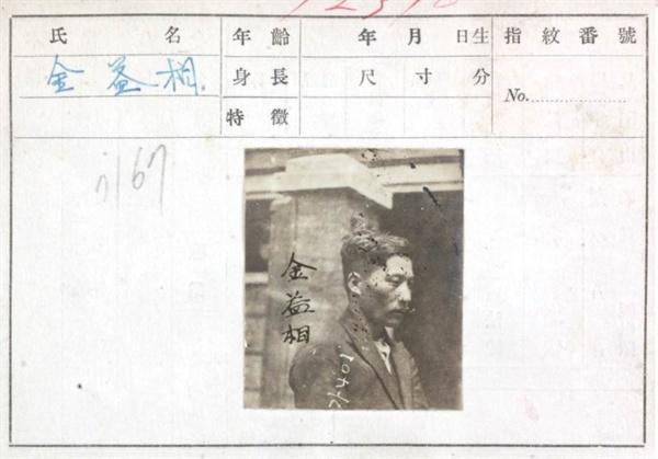 독립운동가 김익상을 수배하기 위하여 일제가 작성한 인물카드. 제대로 된 사진 한 장이 없다.