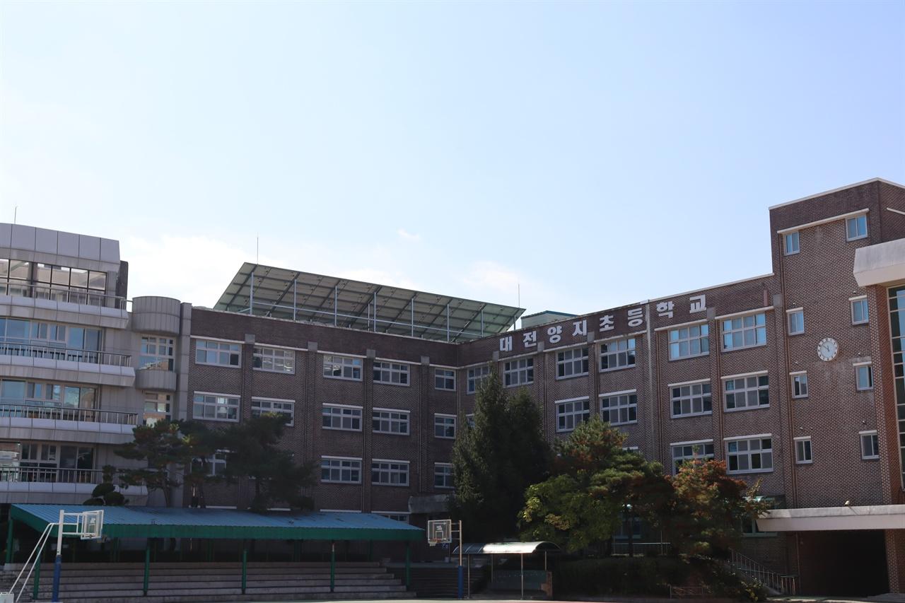대전양지초등학교 옥상에 남향으로 비스듬하게 태양광발전패널이 설치돼 있다.