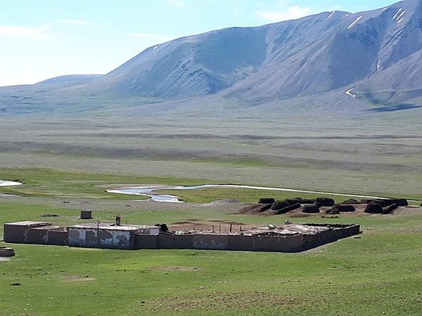몽골 서쪽 바얀올기에 사는  카자크 유목민이 사는 집 뒤로 동물똥들이 보인다. 원형과 직사각형, 정사각형으로 쌓아놓은 모습이 아름답기까지 했다. 유목민들은 동물똥을 말려 연료로 사용한다.