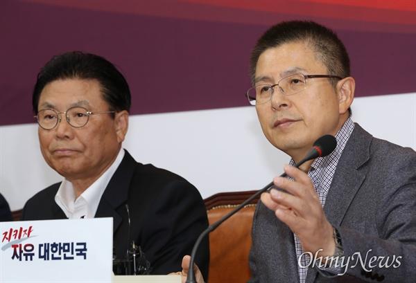 자유한국당 황교안 대표가 4일 오후 국회에서 열린 총선기획단 임명장 수여식 및 1차 회의에서 모두발언을 하고 있다. 왼쪽은 박맹우 단장.