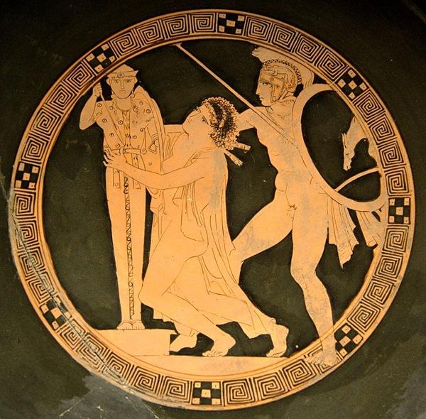 그리스 장수 아이아스가 아테나 성상에 매달려 있는 카산드라의 머리채를 휘어잡고 끌어내고 있다.