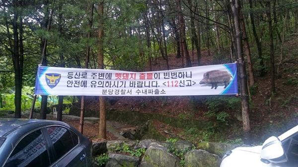 멧돼지 조심  분당 어느 산 아래 주택가에 멧돼지 출몰을 경고하는 플래카드가 붙어있다.