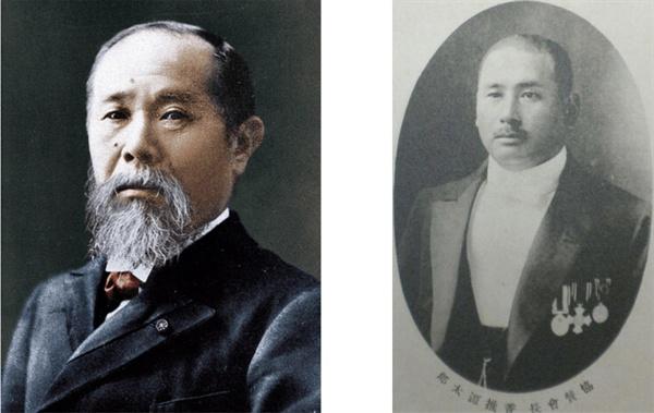 이토 히로부미(좌)와 카시이 겐타로(우) 카시이 겐타로는 황금 어장 71군데를 받아 부산의 3대 재벌이 될 수 있었다.