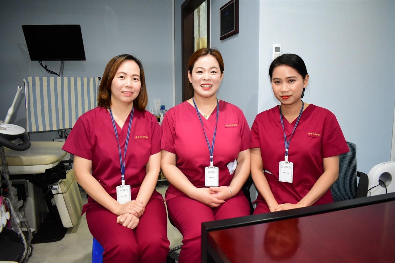 시흥의 산부인과에서 통역사로 일하는 다문화가족 3인방. 왼쪽부터 이예진, 마미정, 장다이아 씨