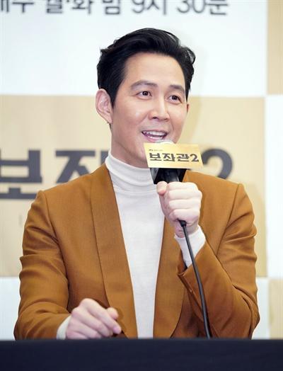 JTBC 월화드라마 <보좌관2> 제작발표회. 장태준 역의 이정재의 모습.
