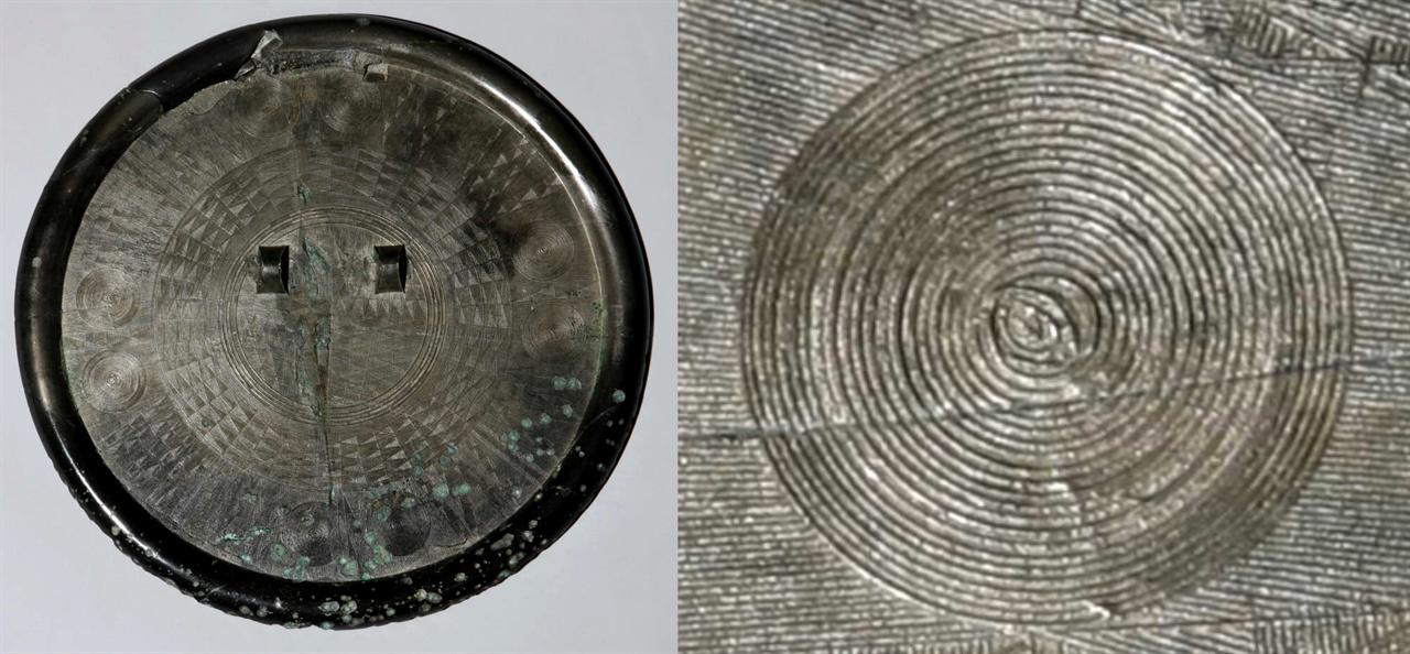 〈사진178〉 국보 제141호 다뉴세문경 뒷면. 지름 21.2cm. 기원전 3세기에서 2세기. 〈사진179〉 국보 제141호 다뉴세문경에는 이런 동심원 무늬가 모두 여덟 개 있다.