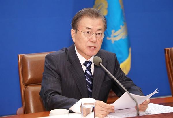 문재인 대통령이 8일 오후 청와대에서 열린 반부패정책협의회에서 발언하고 있다.