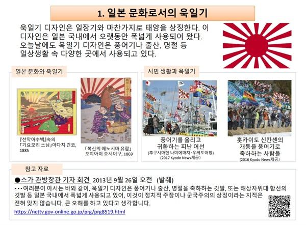일본 외무성이 공식 홈페이지에 올린 욱일기 설명 자료 한국어판 갈무리.