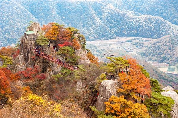 삼선계단 꼭대기에서 내려다본 대둔산 자락 삼선계단 위에서 바라본 금강구름다리와 대둔산 풍광