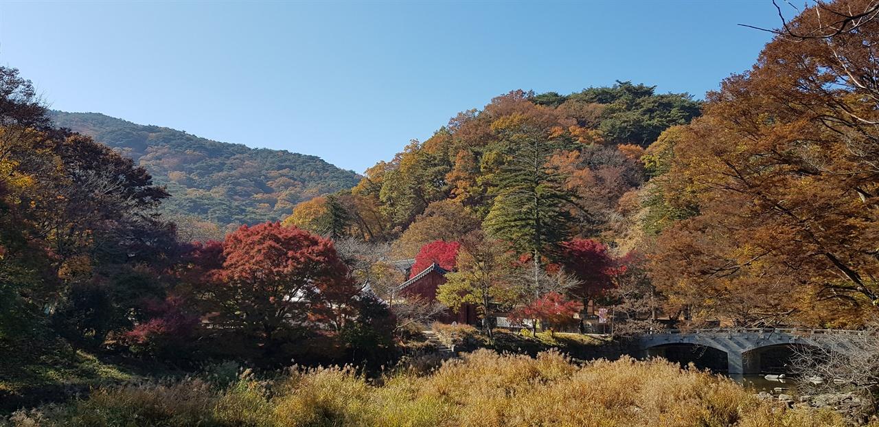 마곡사 입구   김구 선생이 120년 전 마곡사에 처음 올 때 보았을 풍광이다. '만산풍엽은 누릇누릇 붉읏붉읏'이라고 백범일지에 기록하였다.