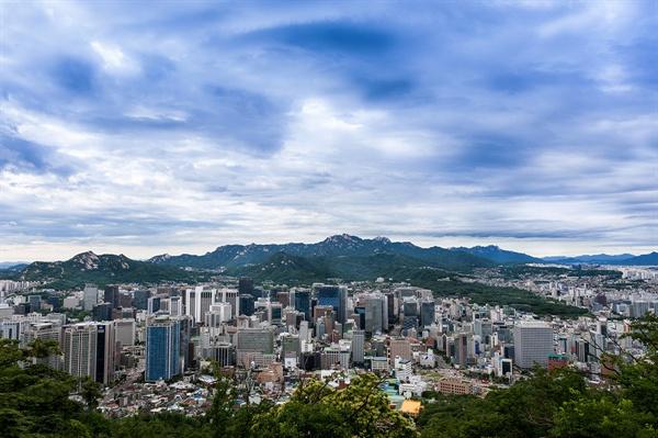 남산 파노라마 남산 정상 조망대에서 바라본 서울 시내 전경